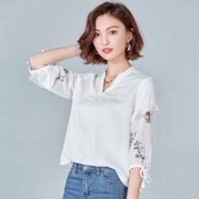 トップス チュニック カットソー シャツ ブラウス 大きいサイズ 七分袖 刺繍 春シャツ フリル袖