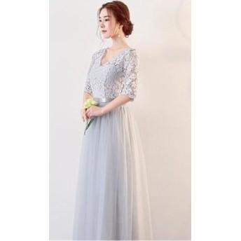 夏 夏新作 花柄レースロングドレス(ライトグレー)ロングドレス パーティードレス 膝丈 結婚式 お呼ばれ