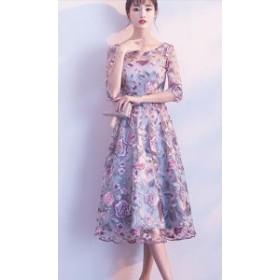 パーティドレス 結婚式ドレス 二次会 お呼ばれ 20代 30代 40代 ワンピース 秋冬新作 大ぶり 花柄 オーガンジー シースルー 五分