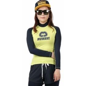 MOWAVE モワビ ラッシュガード ラグラン ビックロゴ レモン/ネイビー レディース 女性 長袖 UVカ
