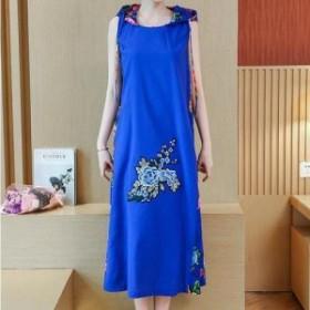 夏 夏新作 花柄刺繍ドレス(ブルー)上品 大人 かわいい 花柄 お呼ばれ パーティー