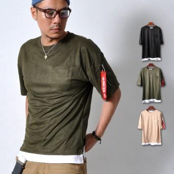 Tシャツ - RAiseNsE 半袖 MA-1 Tシャツ ストラップ付 メンズ トップス 胸ポケット ストレッチ ミリタリー 伸縮性[3色]#TA120