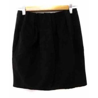 【中古】マカフィー MACPHEE トゥモローランド スカート コクーン ミニ フェイクレザー 34 黒 レディース