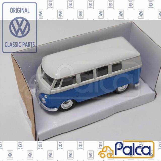 フォルクスワーゲン/VW ミニカー/モデルカー/トイカー T1 タイプ2/TYPE2 ワーゲンバス 青/白 プルバック機能付 純正品