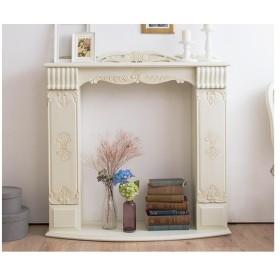 アンティーク調マントルピース 幅110 猫脚プリンセスシリーズ 手彫り家具暖炉 リビング収納 飾り棚 ホワイト アイボリー 姫系 代引不可