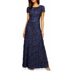 アレックスイブニングス ドレス 結婚式用ドレス レディース【ALEX EVENINGS Embellished Lace Gown】Navy