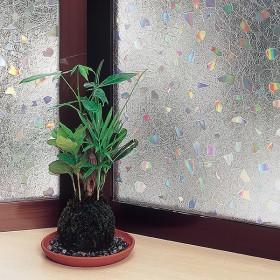 窓ガラスフィルム ストーン 【レンズ調】 クリア 46cmX90cm カーテン付属品