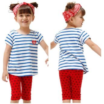 Tシャツ - BABYDOLL ボーダーハートTシャツ-子供服 男の子 女の子 ブルー ピンク ベビー キッズ ベビードール -1102K 2018ss_sts