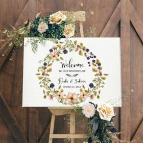 【Fall Flowers】ウェルカムボード シンプル キャンバス風 印刷