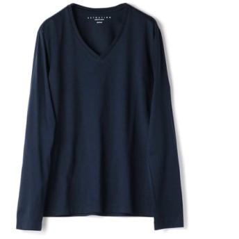 ESTNATION VネックロングスリーブTシャツ GIZAndyシリーズ ネイビー/X-LARGE(エストネーション)◆メンズ Tシャツ/カットソー