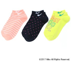 ナイキ NIKEカラー異柄スニーカー丈3足組 コン、ピンク他 女の子 靴下 J400-350-18AW