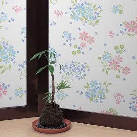 窓ガラスフィルム カラフルフラワー 【飛散防止効果つき】 ピンク 92cmX90cm カーテン付属品