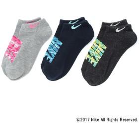ナイキ NIKE甲ロゴスニーカー丈3足組 コン、グレー他 女の子 靴下 400-351-18AW