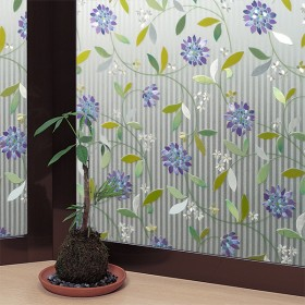 窓ガラスフィルム ストライプフラワー 【カラーレンズ調】 グリーン 46cmX90cm カーテン付属品