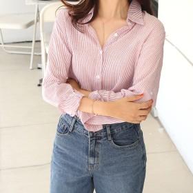 シャツ - DAILY NJ st13.新作!シャツ ブラウス 春夏秋 長袖 ストライプ ブラウス レディース オフィスカジュアル 大人可愛い 韓国ファッション