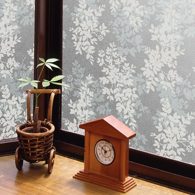 窓ガラスフィルム ホワイトリーフ 【空気が抜けやすいタイプ】 46cmX90cm カーテン付属品