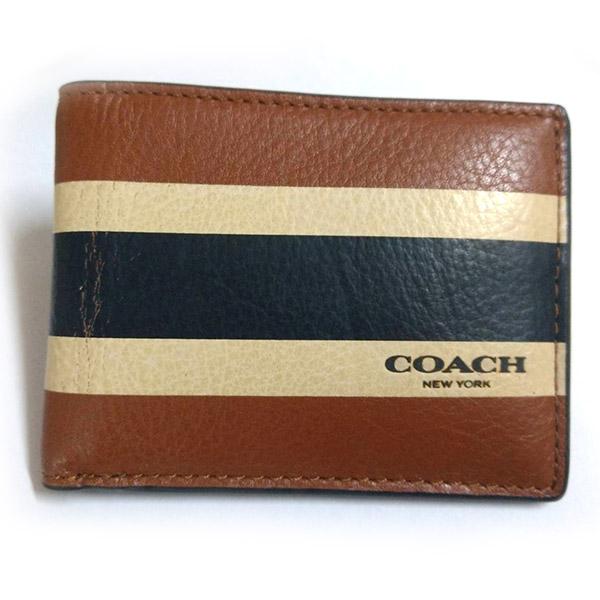 COACH 撞色皮革簡式短夾-條紋咖