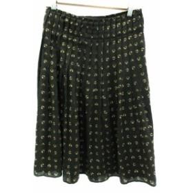 【中古】ボディドレッシングデラックス BODY DRESSING Deluxe スカート プリーツ ラップ ミモレ丈 総柄 9 ブラウン レディース