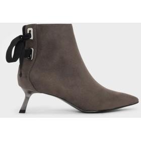 スラントヒール アンクルブーツ / Slant Heel Ankle Boots (Taupe)