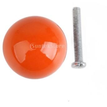 ノーブランド品ハンドル ノブ 取手 引き出しつまみ クラシカル レトロ 丸型 カボチャ状 (オレンジ)