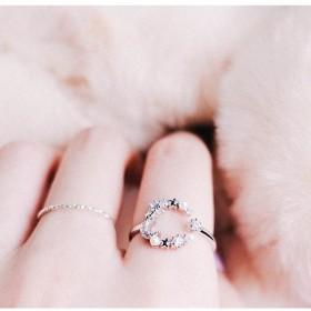 指輪 リング レディース 2個セット 細い 細め 華奢 極細 月 月モチーフ シルバー 星 スター フェイクパール きらきら キラキラ シンプル おし