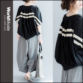 ストライプ柄 スキッパーシャツ オーバーサイズ 白 ブラウス 縞模様 ゆとり 大きいサイズ 夏 ホワイト ブラック