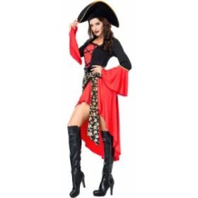 海賊 パイレーツ コスプレ ハロウィン 帽子付き 女性用 ハロウィン コスチューム
