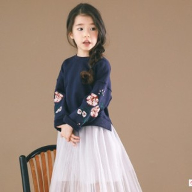 7c785d23480bb  送料無料 子供服 トレーナー 女の子 キッズ ネイビー 韓国子供服 スウェット ブラウス 長袖