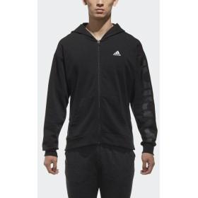 (セール)adidas(アディダス)メンズスポーツウェア ジャケット M SPORTS ID ビッグリニアロゴ フルジップパーカー(裏起毛)FAT26 DH3992 メンズ ブラック