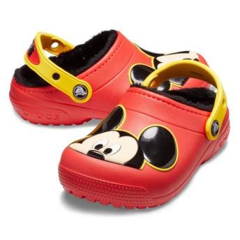 【クロックス公式】 クロックス ファン ラブ ラインド ミッキー クロッグ キッズ Kids' Crocs Fun Lab Lined Mickey Mouse Clog ボーイズ、キッズ、子供用、男の子 レッド/赤 15.5cm,18cm,18.5cm,19cm,20cm,21cm clog クロッグ サンダル
