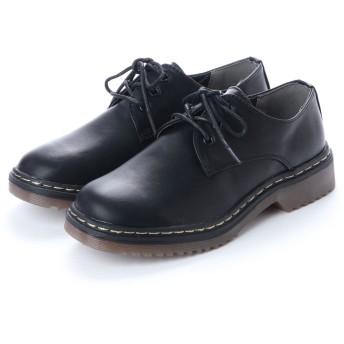 スクランブル scramble ブリティッシュ3ホールレースアップシューズ マニッシュ ブーツ 英国風 春 靴 (ブラック)