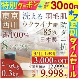 肌掛け布団 シングル 東京西川 西川産業 フランス産ホワイトダウン90% 夏 洗える 肌布団