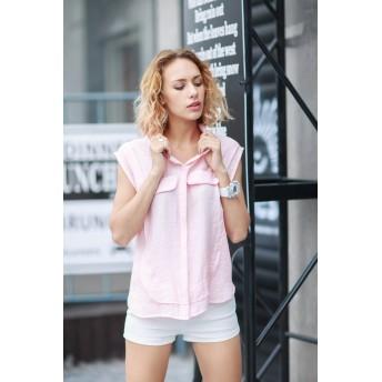 シャツ - Miss R 【Miss R GOLD】バストフェイクポケット付き 背中異素材MIX ノースリーブシャツ・ブラウス(2色)【ミスアール】
