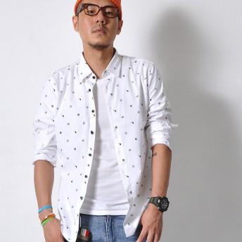 シャツ - RAiseNsE 長袖 カジュアル シャツ メンズ トップス 小柄 模様 白シャツ ホワイト 綺麗め ビジネス#TS390