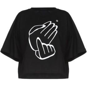 《送料無料》MM6 MAISON MARGIELA レディース T シャツ ブラック XS 100% コットン ポリウレタン