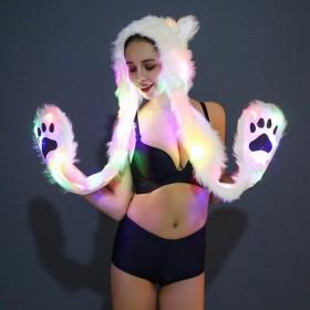 フード付きマフラー マフラー一体型 ミトン付き帽子 耳付きフード LEDライト 光る コスプレ コスチューム シロクマ ホッキョクグマ ファーマフラー