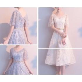 パーティー 花柄 レース 半袖 ドレス 結婚式 二次会 プチプラ 盛れる お洒落 清楚系 大人女子 大人可愛い