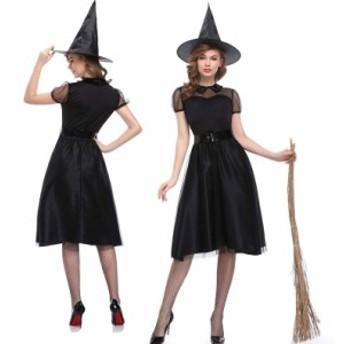 ハロウィン コスプレ コスチューム 仮装 レディース クリスマス 魔女ワンピース チュール シースルー 帽子セット 2833