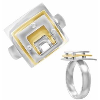 コンセントリックリング(ゴールド)(LRC206)サイズ/20号 金色 個性的 スクエア 四角形 ステンレスリング 指輪 サージカルステンレス31
