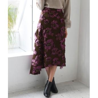 【20%OFF】 リアルキューブ Hoochie Coochie 日本製 ジャガード刺繍フラワーヘムスカート レディース ブラウン M 【REAL CUBE】 【タイムセール開催中】