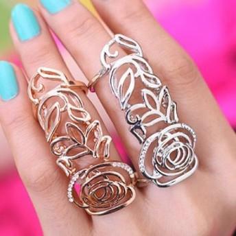 ローズフラワーアーマーリング 13号 シルバー ゴールド 薔薇 ローズ 花 フラワー フィンガーリング 指輪 メンズ レディース ペアリング