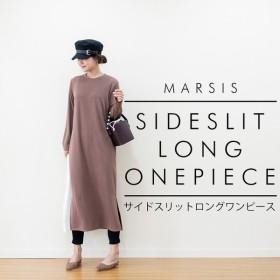 ワンピース レディース 秋 秋冬 長袖 ニットワンピース サイドスリット B 韓国 ファッション