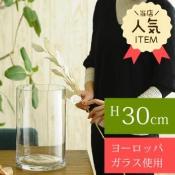 ガラス花瓶 EUROグラス 直径19×高さ30cm フラワーベース 大きな 北欧 ヨーロッパ シンプル 円柱 花器 【送料無料