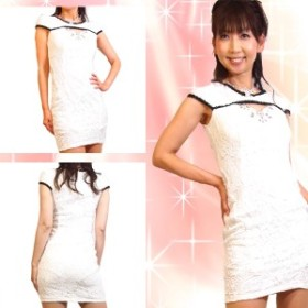 4b618a98f5b43  優雅 高級素材 総レースパール装飾袖付きミニドレス  ドレス キャバ キャバ
