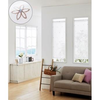 小花刺しゅう柄。小窓用カフェカーテン のれん・カフェカーテン