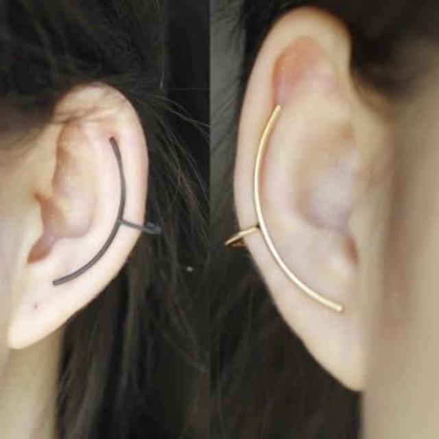 ラインイヤーカフ/1個販売 イヤリング 右耳用 左耳用 両耳用 メンズ レディース イヤーラップ シンプル はさむ クリップ ブラック シルバ