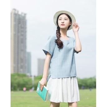 シンプルデザインひざ丈フレアスカート 無地 全2色 ネイビー ホワイト ゆったり シンプル