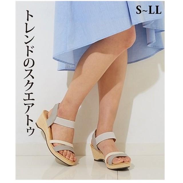 サンダル レディース スクエアトゥ ウェッジ サイズ 靴 22.0〜22.5/23.0〜23.5/23.5〜24.0/24.5cm ニッセン