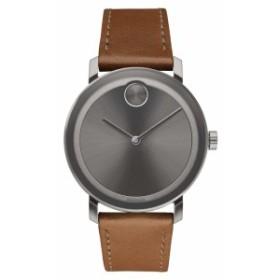 腕時計 レザーウォッチ メンズ【MOVADO Bold Leather Strap Watch 40mm】Cognac/ Grey