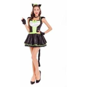 ハロウィン コスプレ コスチューム 仮装 キャット アニマル 猫 魔女 サテン 帽子 手袋 レディース クリスマス 8127